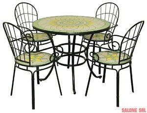 Tavolo Tondo Con 4 Sedie.Dettagli Su Set Limonaia Tavolo Tondo 92xh72 Con Mosaico Con 4 Sedie Arredo Esterno