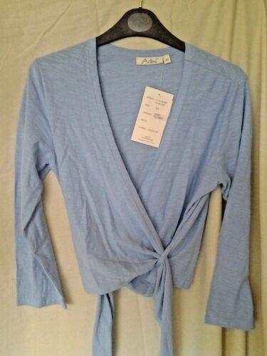 Adini 100/% cotton slub jersey wrap top ballerina ties 3//4 sleeves v neck