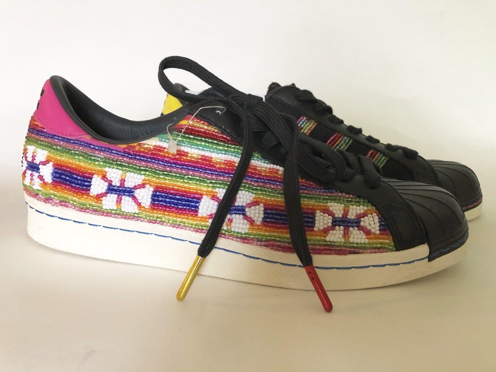 Adidas Superstar 80s Pioneer Black Beaded Pharrell Bolivian Beads B25965 6.5