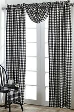 BUFFALO BLACK CHECKS WINDOW PANEL SET : WHITE PLAID COUNTRY COTTAGE CURTAIN