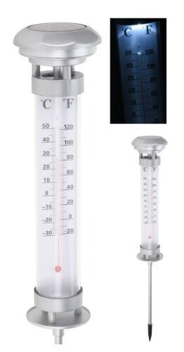 LED Solar Thermometer Garten Außenthermometer Gartenthermometer beleuchtet