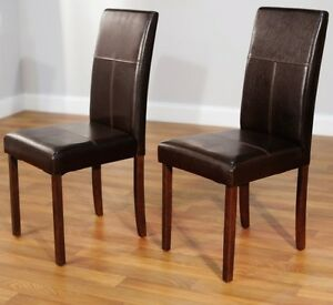 Details about Brown Leather Dining Room Chairs (Set of 2) Parson Chair  Furniture High Back NEW