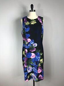 Eliza J Black Multicolored Floral Print Career Panel Shift Dress Women's 16