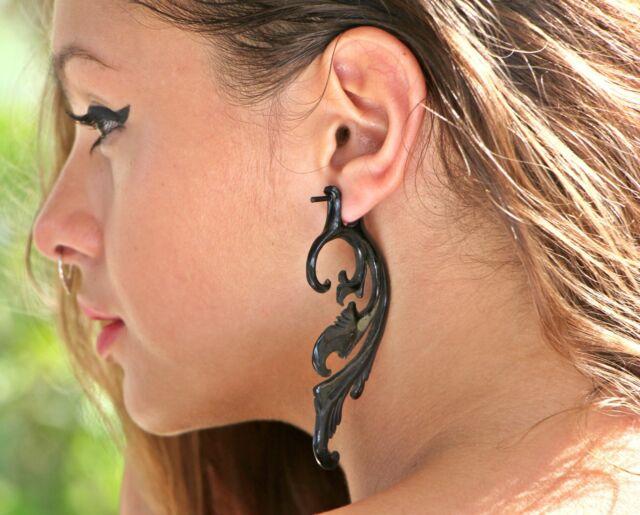 Horn Earrings Bone Tribal Carved Organic Handmade Inlay Fake Gauge Posts Dangle