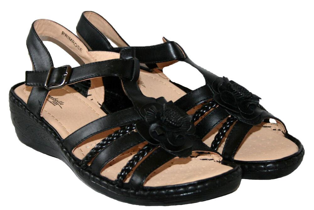 AgréAble Femmes Noir À Enfiler Talon Compensé Confortable Bride Arrière Sandale Taille 6 Les Couleurs Sont Frappantes