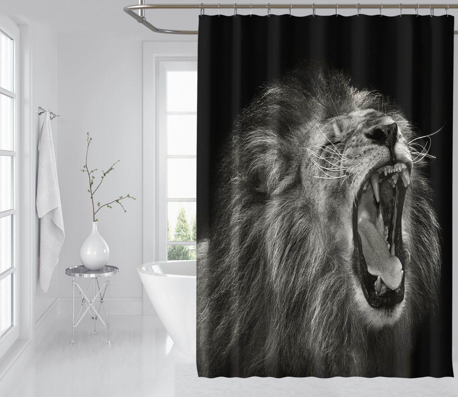 3D Howl Lion Art 87 Shower Curtain Waterproof Fiber Bathroom Windows Toilet