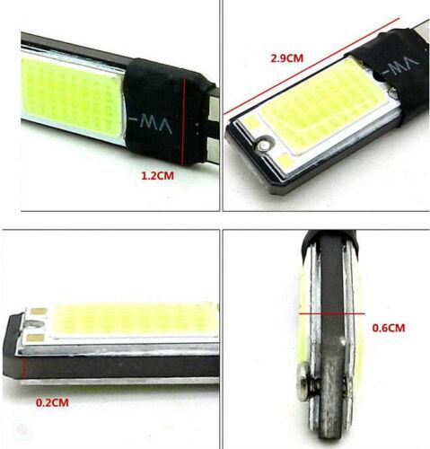 2PCS T10 W5W 194 168 6W LED No Error COB Canbus Side Lamp Wedge Light Bulb White