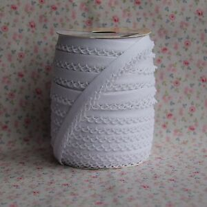 3m-12mm-White-Bias-Binding-with-Picot-Lace-Edge-Trim-Vintage-Wedding