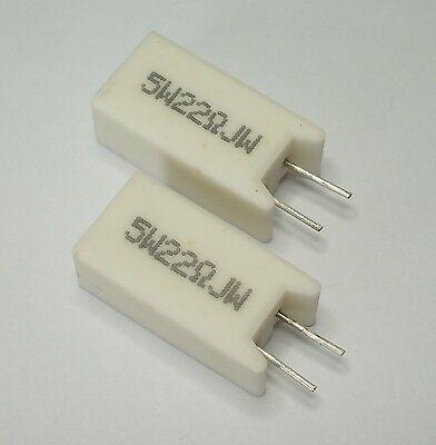 22 Ohm, 5 Watt (22R, 5W) Radial Wirewound Resistor - Ceramic Case - Quantity=2