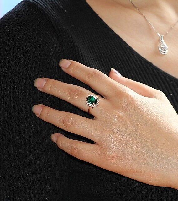 18K GP Gold Swarovski Element green Crystal oval Ring 6/7/8/9 Size a169
