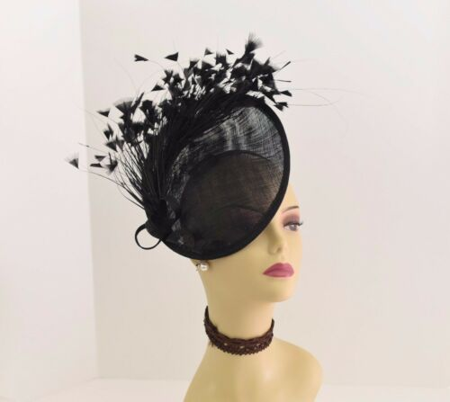 Kentucky Derby Wedding Tea Party Sinamay feather Fascinator Cocktail 617 Black