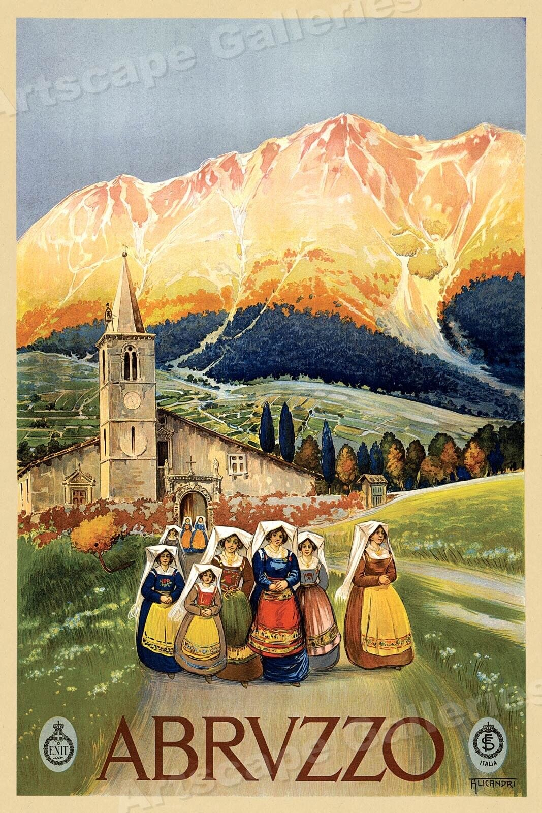 Abruzzo Italy Vintage Italian Travel Poster Rolled Canvas Giclee Print 24x32 in.