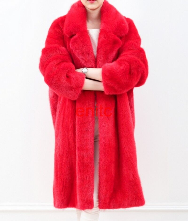Womens Sexy Red Trench Loose Long Faux Fur Coat Winter Warm Parkas Outwear Lapel