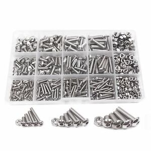 Stainless-Steel-Button-Head-Hex-Bolts-Nuts-Assortment-Kit-Hexagon-Socket-Screws