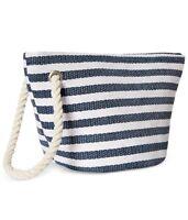 Macys Navy & White Striped Make Up Case Cosmetics Bag Wristlet .nwt