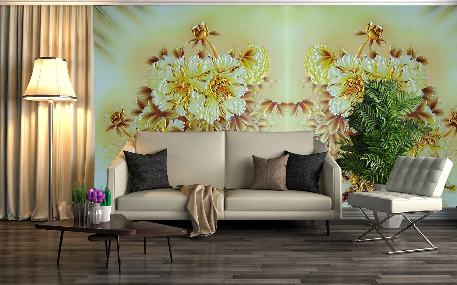 3D Flowers Billom Painted 02 Wall Paper Wall Print Decal Wall AJ WALLPAPER CA