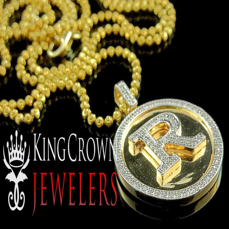 Vero 10K oro oro oro Giallo Diamante Vero con Iniziali Alfabeto   R   Ciondolo Pendente 7b3836