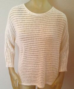 NWT $79.99 Ann Taylor Cream / Gold Sequin Sweater Womens Large L