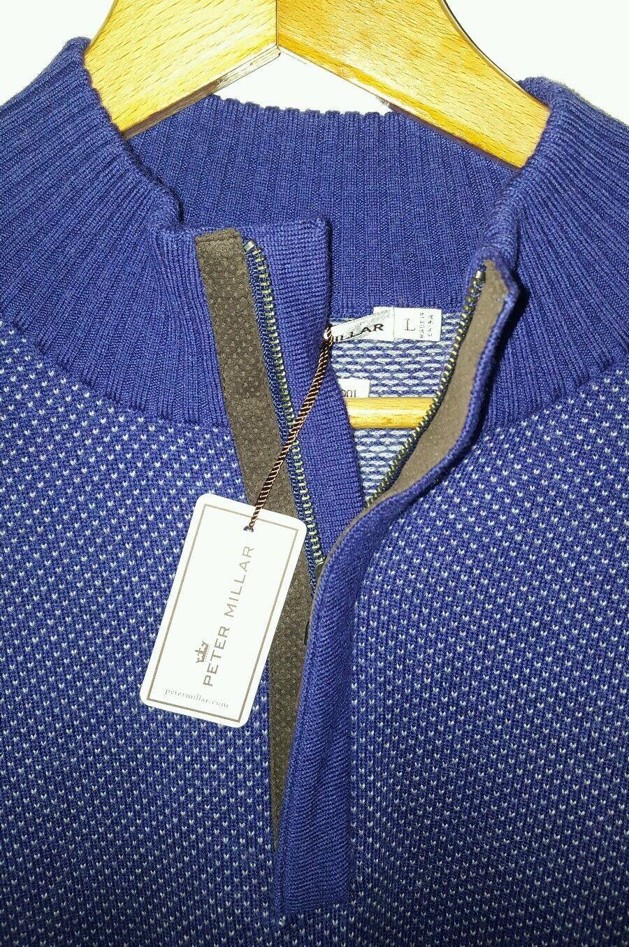 Peter Millar Quarter Zip Merino Lana Sweater & Trim Suede Trim & Uomo Sz Large NWT  245 1284f6