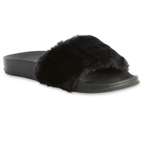 Joe Boxer Women/'s Retta Black Slip-On Faux Fur Slides Slippers Size 7//8 Medium