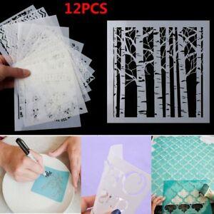 12pcs-set-Walls-Painting-Layering-Stencils-Scrapbooking-Embossing-Template