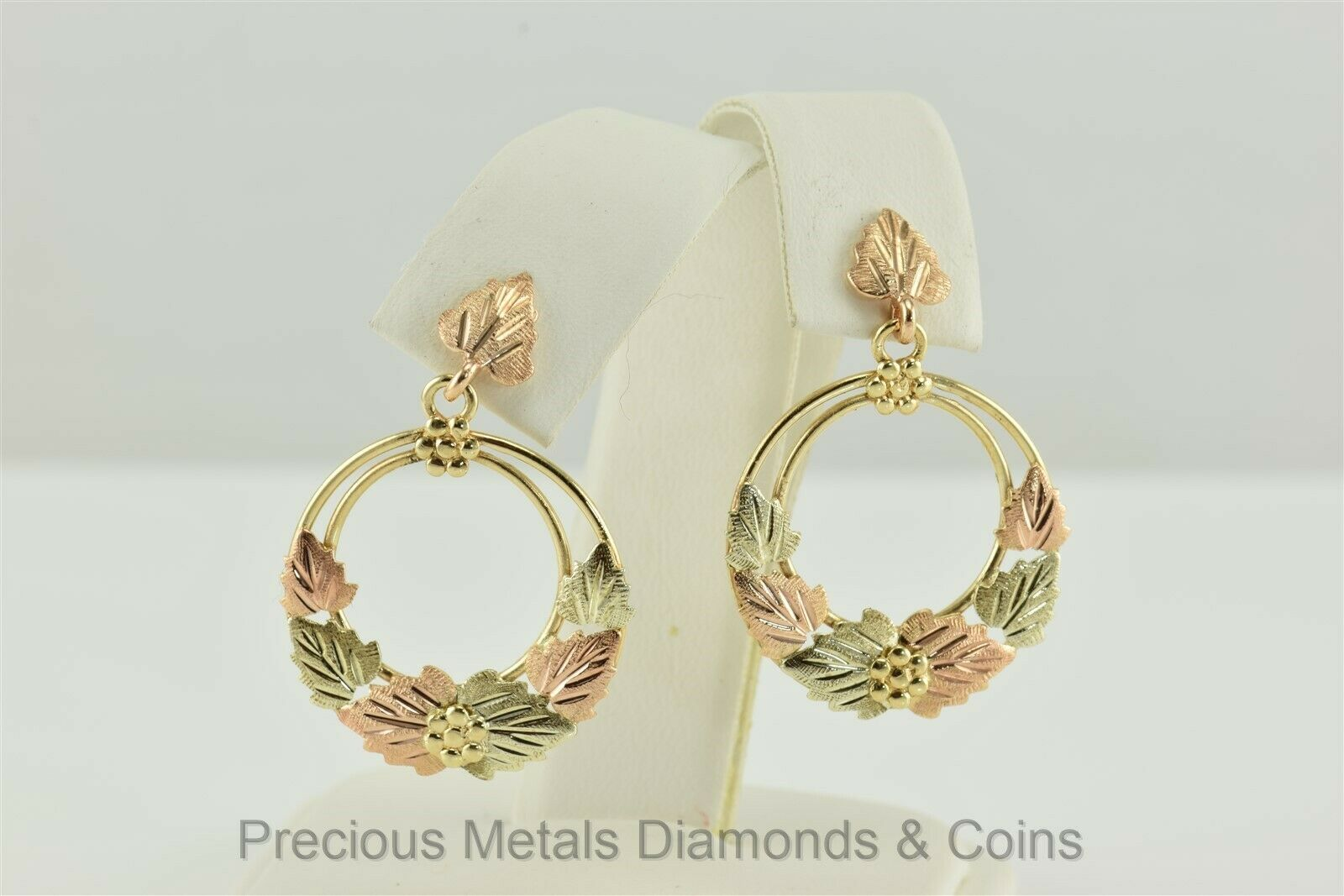10k Yellow & pink gold 32mm Diamond Cut Leaf Dangle Drop Post Circle Earrings