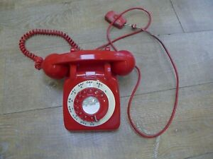 Vintage-Retro-1960-039-s-GPO-706L-White-Dial-Rotary-Red-Telephone-Desk-Land-Line