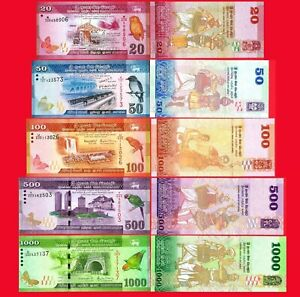 SRI-LANKA-Set-5-PCS-20-50-100-500-1000-RUPEES-2010-2019-NEW-UNC