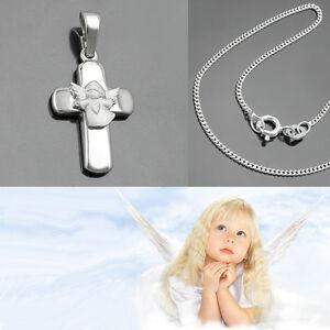 Details Zu Weiß Gold 750 Kinder Taufe Kommunion Kreuz Anhänger Herz Engel Mit Silber Kette