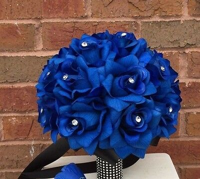 """Bridal Bouquet 10"""" - Sapphire (Royal Blue) Artificial Roses with White Ribbon"""
