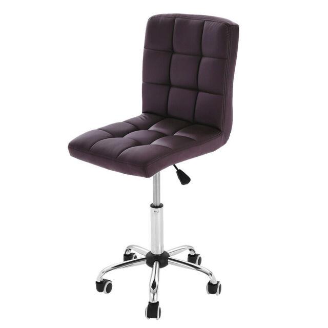 Pleasant Office Desk Chair Pu Leather Mid Back Armless Stool Swivel Task Chair W Wheels Spiritservingveterans Wood Chair Design Ideas Spiritservingveteransorg