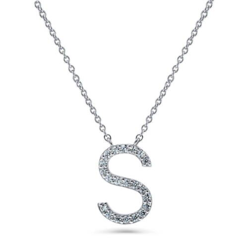 BERRICLE Sterling Silver Cubic Zirconia CZ Initial Letter Pendant Necklace