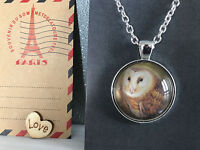 Silver Plated Aus Post Stamp Art Brown Owl Pendant Necklace Australian Hand Made