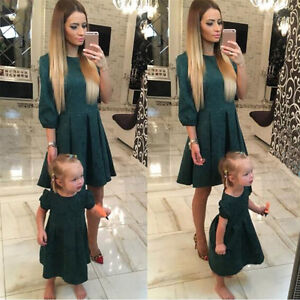 Mother-and-Daughter-Party-Midi-Dress-Floral-Half-Sleeve-Mom-Girls-Family-Clothes