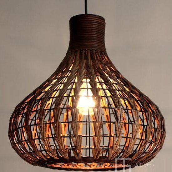 DIY Tropical Bamboo Chandelier Wicker Rattan Lamp Shades Weave ...
