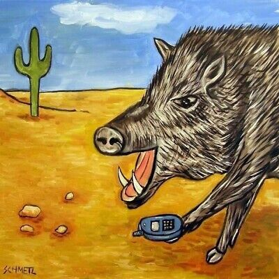 JAVELINA CELL PHONE  GIFT art tile coaster animal