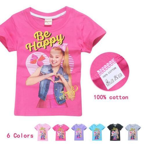 "JoJo Siwa Kids T-shirt  ""Be Happy"" Girls Tee Clothes Top - Size 3 -10"