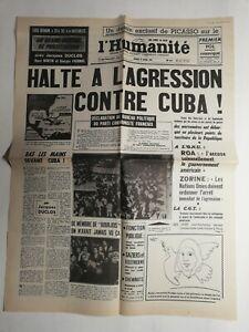 N397-La-Une-Du-Journal-L-039-humanite-18-avril-1961-agression-contre-Cuba