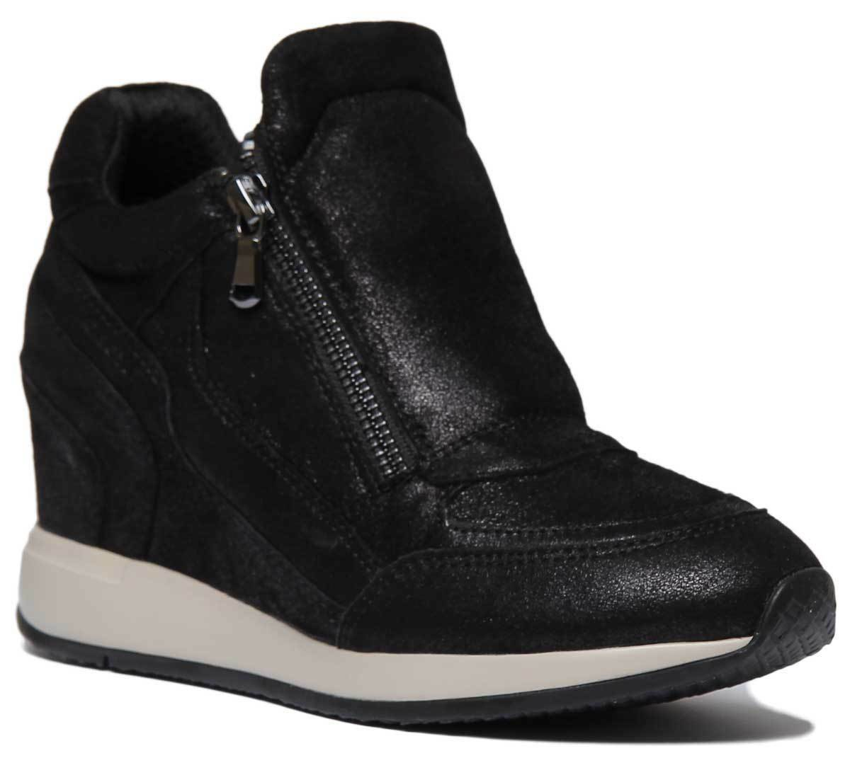 Geox nydame Para Mujer De Cuero Cuero Cuero De Gamuza Negro Zapatos de plataforma tamaño de Reino Unido 3 - 8  varios tamaños