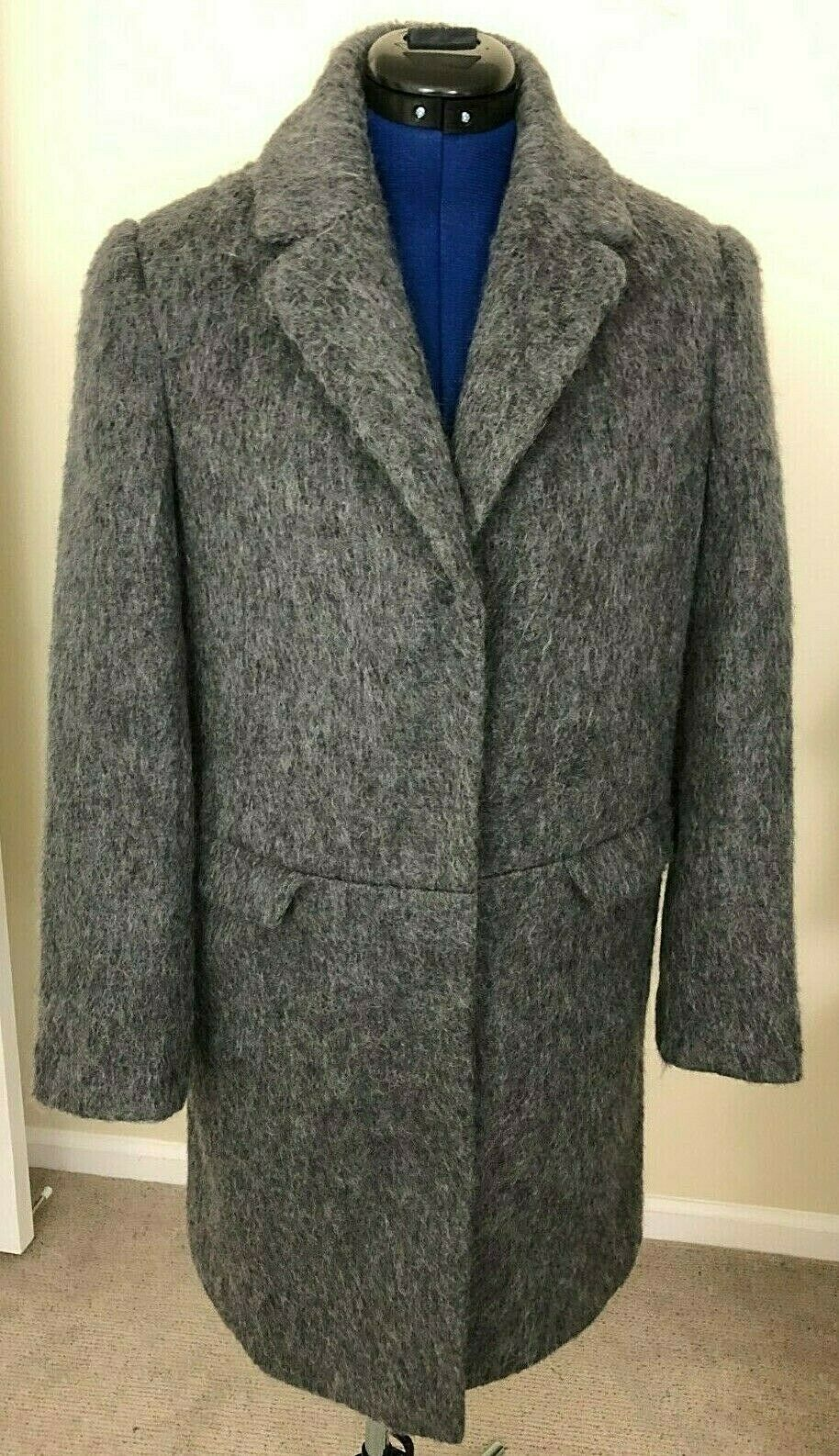 ASOS Size 2 British Women's Outerwear Coat Lined Wool Blend Gray Pockets Snaps