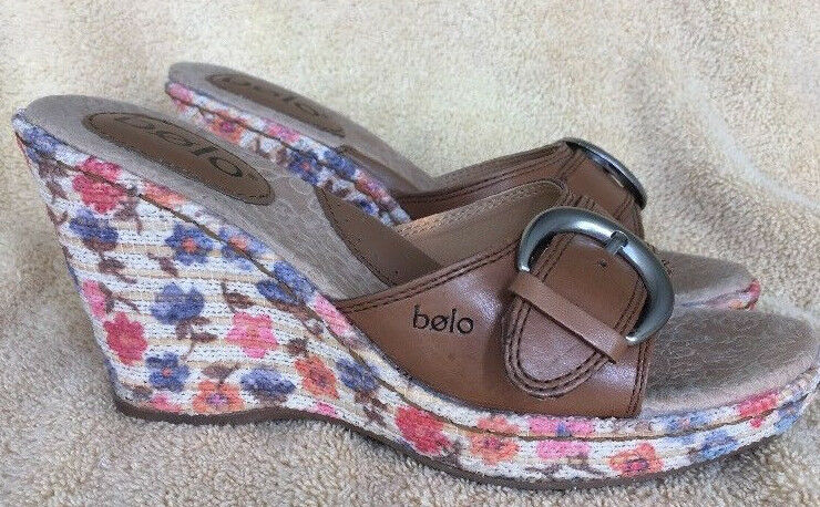 Bolo Born Women's 6 Espadrilles Slides Strap Wedge Floral Buckled Leather Strap Slides d3d698