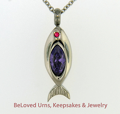 Fish With Purple Stone Cremation Pendant Chain Sold Separately