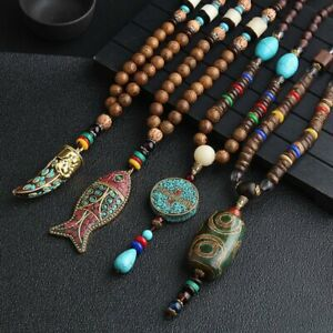 Handmade-Nepal-Jewelry-Buddhist-Beads-Pendant-Necklace-Ethnic-Long-Statement-Hot