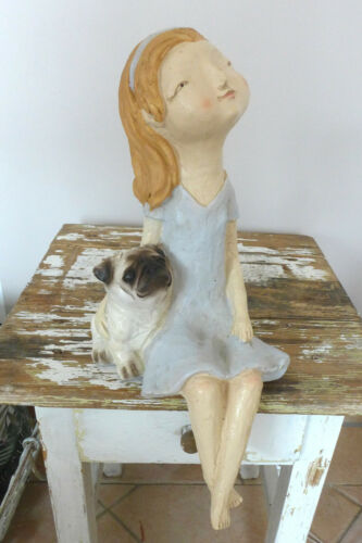 Kantenhocker Mädchen mit Hund Mops Kantensitzer  37 cm Dekofigur Zierfigur