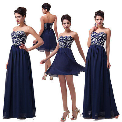 Strapless Long Chiffon Evening Formal Party Ball Gown Prom Bridesmaid Dress NEW