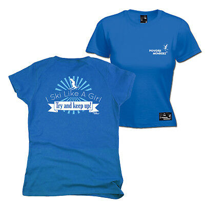 Angemessen Fb Skiing Snowboarding Tee Ski Like A Girl Womens Fitted T-shirt Top T Shirt