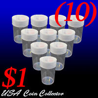 (10) Small Dollar Size Crystal Clear Round Coin Tubes By Whitman Twist Off Cap 1