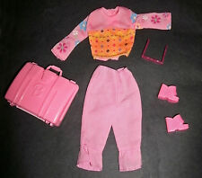 Barbie doll clothes: Holiday outfit, pink pants, top, case, shoes, sunglasses