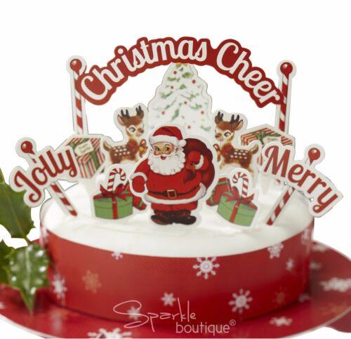CHRISTMAS CAKE DECORATION SET Santa//Father Xmas//Reindeer 11 x Toppers /& Wrap