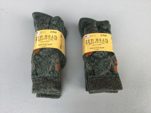 NWT Boys Youth Red Head Merino Wool Socks 4 Pair Shoe 10-3 Camo #1203L